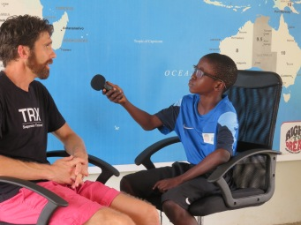 A young Right to Dream player interviews EPL Physio Robin