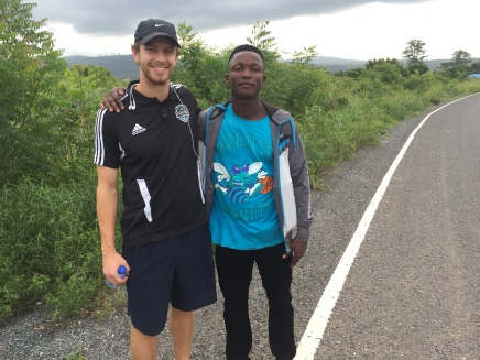 Week 6: Ran into a local rural Ghanian sporting a Charlotte Hornets t-shirt, just down the road from the academy